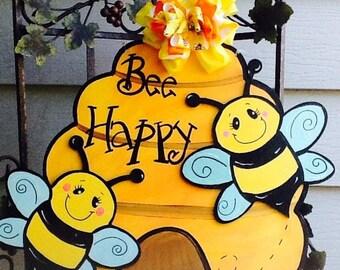 Bee door sign, bumble bee door sign, beehive door sign, bee door hanger, bee happy sign, bumble bee door hanger, beehive door hanger