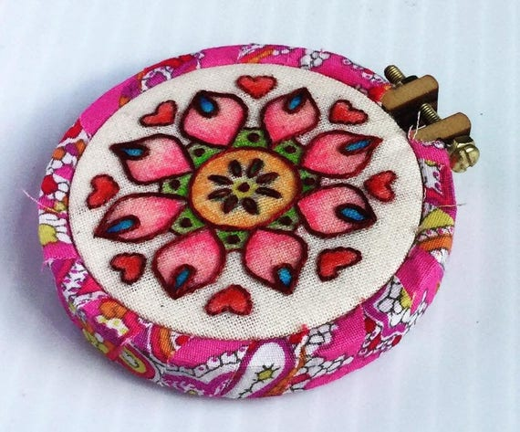 Love Mandala Mini Hoop Art Pendant, Valentines Day, Hearts, Whimsical, Hand Embroidered