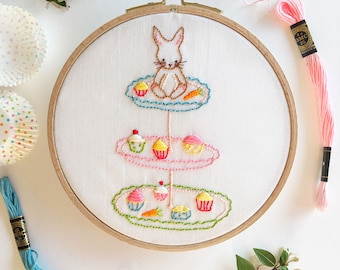 Bunny and Her Cupcakes - Hand Embroidery PDF Pattern