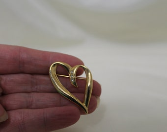 Gold Heart Brooch with Rhinestones / Heart Pin Fashion Jewelry