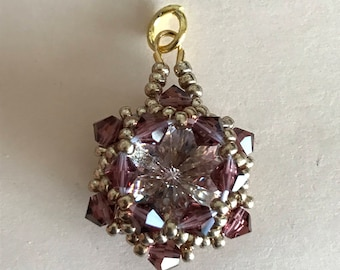 Gold, Dusty Purple, Clear SwarovskiCrystal Rivoli Pendant