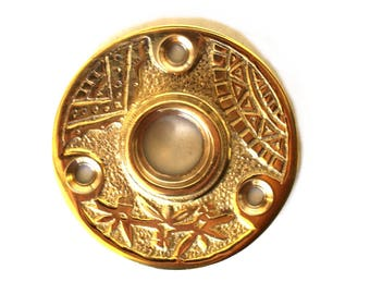 """Brass Rosette Door Plate with Geometric Eastlake Vintage Style """"The Jenny"""""""