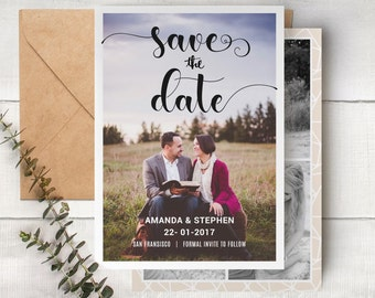 Save The Date Template - Engagement Announcement Card Photoshop Template SAVE THE DATE 008