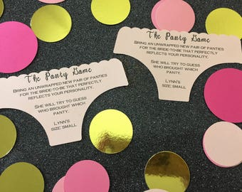 The Panty Game Insert, Bachelorette Party Invite Inserts, Lingerie Party