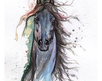 tatoo horse, equine, equestrian, horse art, Framed original watercolour painting