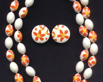 Vintage Two Strand Hand Painted Beaded Necklace with Earrings - 1960's