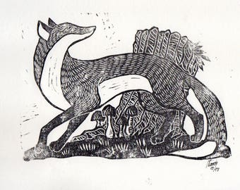 Linocut of a fox in front of a treestump