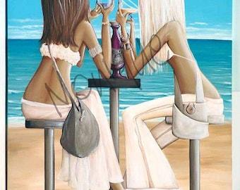 Beach girls printable art, instant download