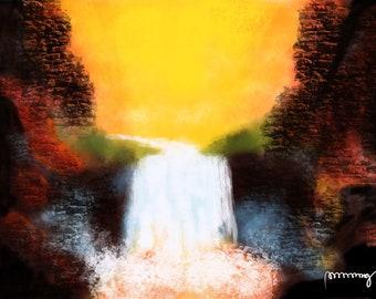 Abstract Mountain Falls