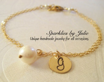 GOLD Monogram Bracelet with Birthstone - Hand stamped initial charm, custom birthstone, gold filled, Mother Gift, Bridal Party Favor