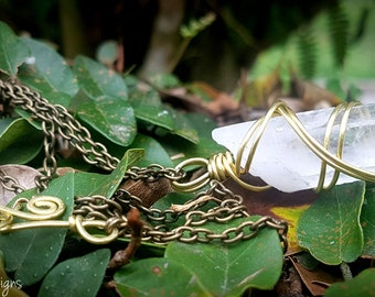 Clear Quartz Point & Brass Necklace (brass chain)