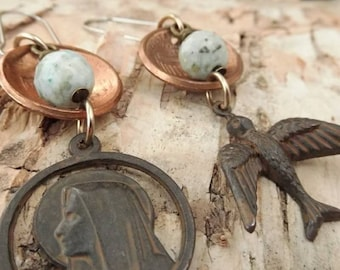 Mother Mary Assymetric Domed Penny Earrings