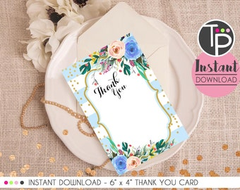 Watercolor Floral THANK YOU Card, Instant download Thank you Card, Thank you Card, Baby Shower Thank you Card, Instant Download Thank you