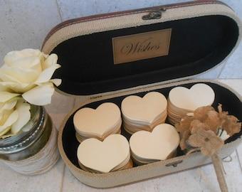 Wedding Wishes Trunk / Wedding Guest Book Alternative / Burlap Wedding Wish Case Set / Wedding Decorations / Burlap Wedding Decorations