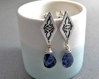 Sterling Silver and Blue Iolite Post Dangle earrings - Stamped silver Iolite gemstone earrings handmade earrings