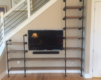 Large Customized Pipe Shelving Wall Unit / Pipe Book Case / Wall Shelving