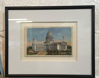 Framed Postcard of Wisconsin State Capitol Building - Vintage Postcard, Black Frame