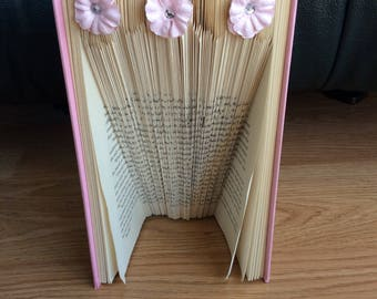 "Folded Book Art-Pink  Hardcover With 3 Pink Flowers ""Let Love Find You"" Handmade"