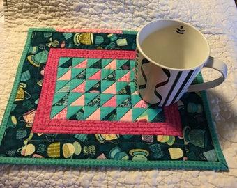Tea mat mug rug pink and aqua mini patchwork quilt
