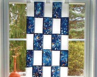 Checkerboard Abstract in Blue ~Fiber Art Batik Pojagi Patchwork Window Treatment Stained Glass-Look ~ bohemian cafe curtain / hippie curtain