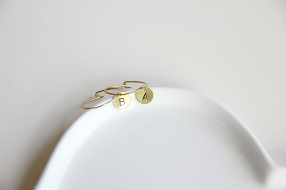 Hoop earrings, initial personalized jewelry