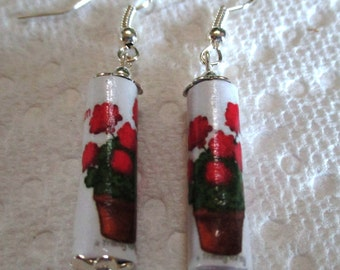 Paper Bead Earrings - Geraniums - paper jewelry