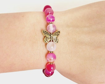 Pink Agate Bracelet with Spiral Butterfly
