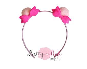 Pink Pom Pom Ear DIY Kit #474 -DIY Kit-Headband- Kit- Rainbow Headband- Magical Headband-