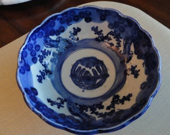 D016)  Antique Flow Blue Ironstone Bowl lotus flower and bird