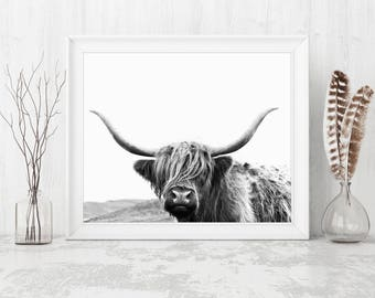 Highland Cow Print Black And White, Highland Cow Print Digital Download, Highland Cow Wall Art, Bull Wall Art, Wall Art Black And White