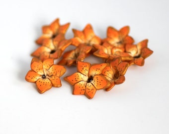 Tiger Lily Beads, Polymer Clay Beads, Lily Beads, Orange Flower Beads, 10 Pieces