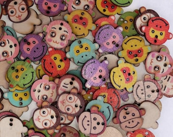 Polish multicolored monkey - 02307 wooden buttons x 10