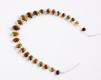 Tourmaline Smooth Briolette Beads Small Petite Tiny Teardrop Beads 7 inch strand 25 pcs Top Drilled Petrol Tourmaline Green Brown Amber