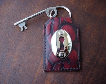 Embossed Leather Keychain with Keyhole and Vintage Skeleton Key - Claret Damask Leather Key Fob