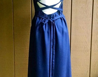 CUSTOM Lace Back Dress in navy blue linen, long ties in back
