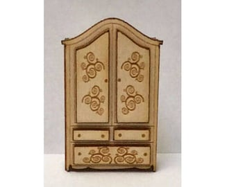 Quarter Inch Scale Renaissance Armoire Dollhouse Furniture Kit.