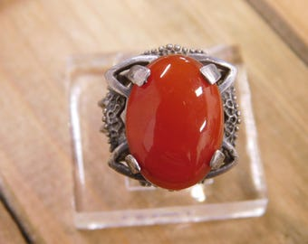 Vintage Carnelian Sterling Silver Ring 6