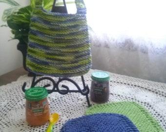Titlewave Hand Knit Baby Bib and Washcloth Set