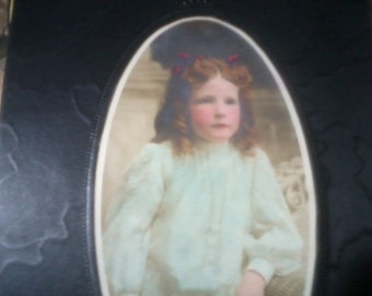 Antique Photo Card Young Girl Red Heard White Dress