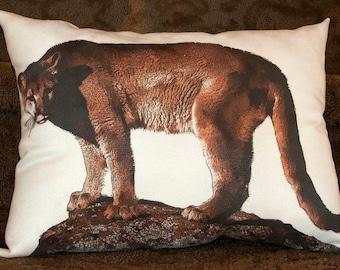 mountain lion photograph, cougar photograph, cougar pillow, wildlife pillow, lodge decor, cabin decor, mountain lion pillow