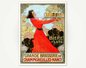 Grande Brasserie de Champigneulles-Nancy Vintage Beer Poster Print - French Brasserie Advertising Poster Art