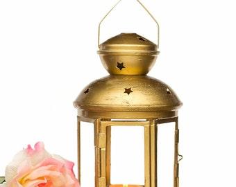 Vintage Gold style Wedding Lantern - Shabby Chic - Customized Outdoor Lantern - Golden Candle Holder - Holiday Gifts