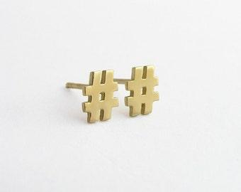 14k gold studs - 14k Gold Earrings -14k Gold Hashtag Earrings - Solid Gold Earrings - Gold Minimalist Earrings - Gold Post Earrings