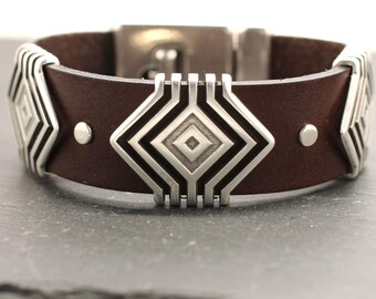 Leather Bracelet , Hypnotic Bracelet , Leather Bangle , Mens Bracelet , Statement Bracelet , Silver Cuff , Leather Cuff , Amy Fine