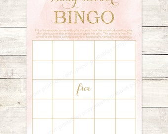 pink gold baby girl shower bingo game card printable DIY pink gold glitter watercolor watercolour digital shower games - INSTANT DOWNLOAD