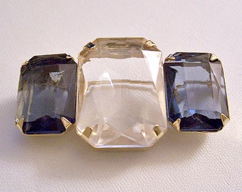 Avon Diamond Sapphire Stones Pin Brooch Gold Vintage 1985 Fashion Facets Faux Blue Clear Faceted Prong Set Large Square Clear Acrylic Trio