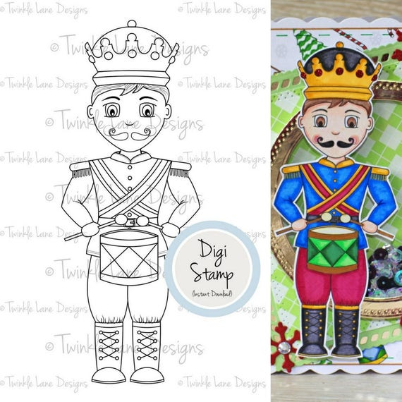 Little Drummer Boy Digital Clipart Digi Stamp Nutcracker Winter Soldier Papercraft Colouring Page For Him Printable Paper From