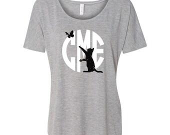 Cat Lover Shirt - Monogram Shirt - Scoop Neck - Gift - funny cat shirt (BD1074) SHOWN Athletic Grey 8816 / white vinyl black glitter