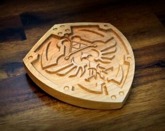 "Miniature Wooden Hylian Shield (5"" x 4"")"