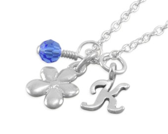 Flower Necklace, Sterling Silver, daisy charm, birthday necklaces, personalized, birthstone, blue, custom colors toddler jewelry, KATIE
